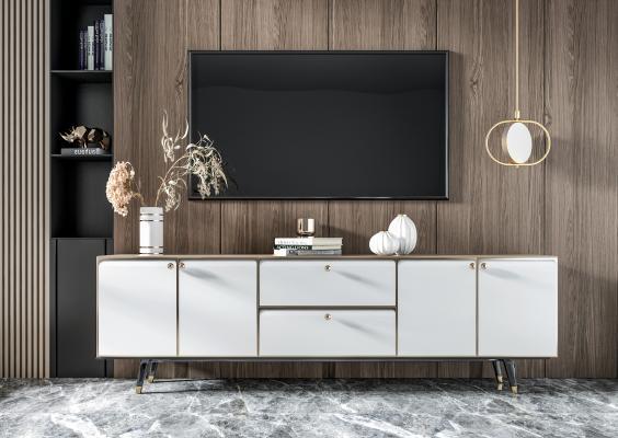 现代电视柜 轻奢电视柜 雕塑 装饰柜 边柜 矮柜 餐边柜 装饰品 挂画 花瓶