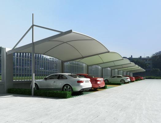现代雨棚 停车位 绿化带