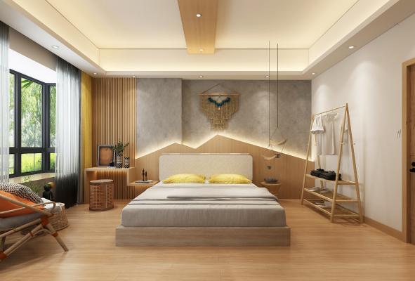 现代客房 吊灯 墙饰