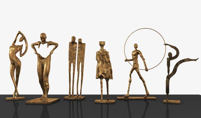 现代金属抽象人物雕塑
