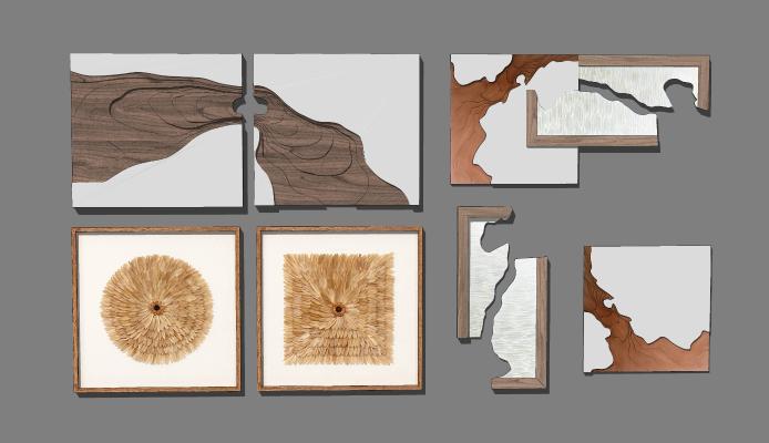 现代抽象装饰画 树轮装饰画 挂画