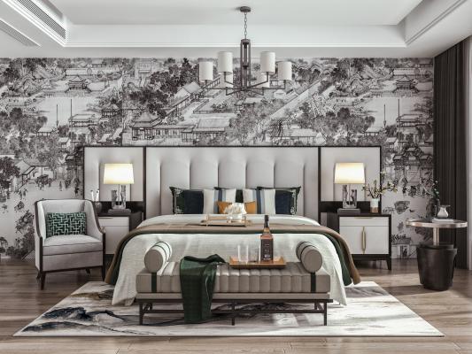 新中式卧室 主人房 双人床