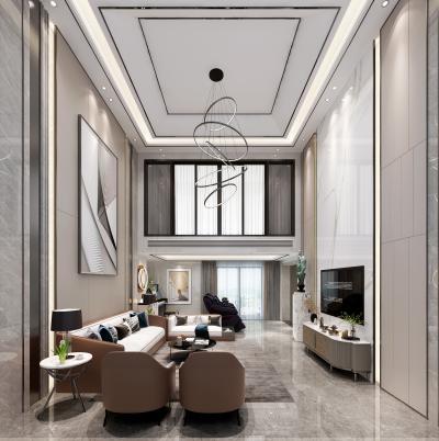 现代复式客厅 别墅