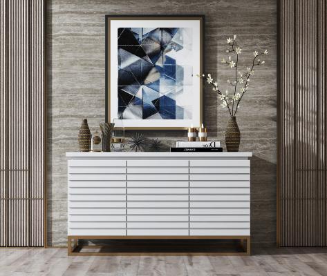 现代白色简约实木边柜 摆件组合