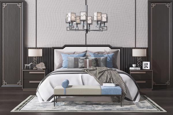 新中式双人床 床头柜 台灯