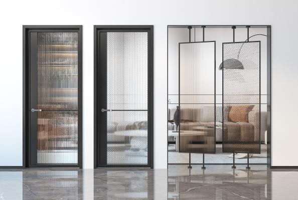 现代玻璃门 玻璃屏风隔断