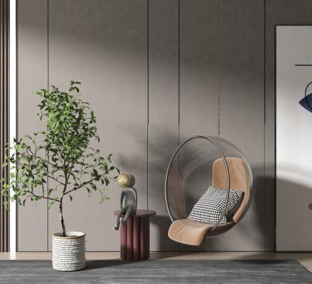 现代风格玻璃吊椅