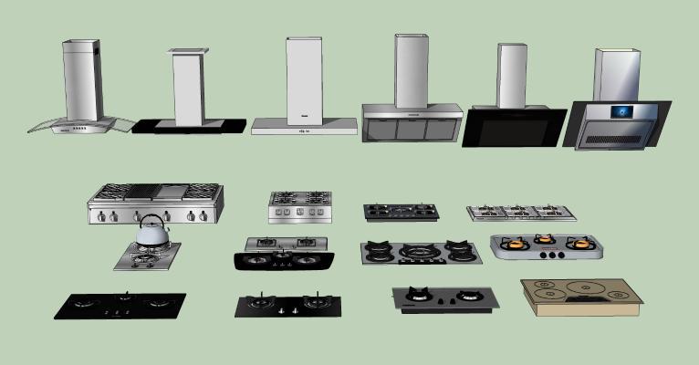 现代厨房燃气灶台 抽油烟机 集成灶