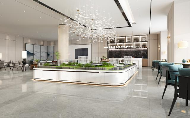 新中式轻奢售楼处 吊灯 沙盘