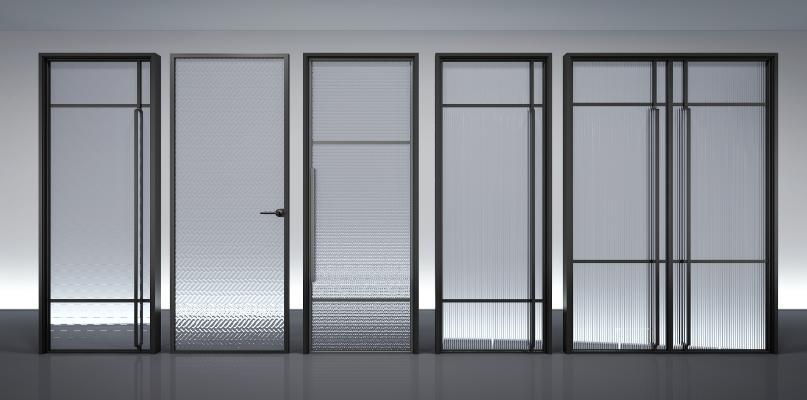 现代夹丝玻璃门 移门组合