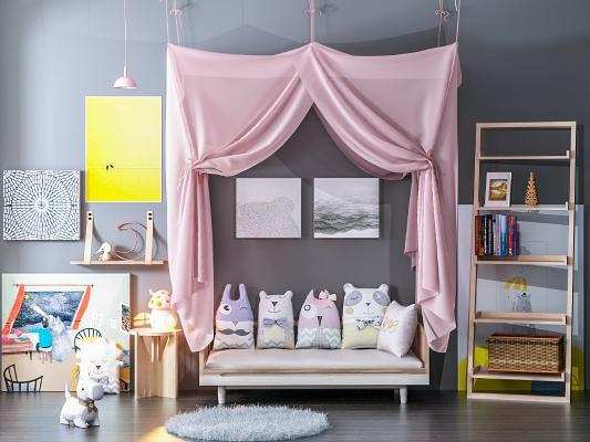 现代儿童床 儿童装饰 装饰画