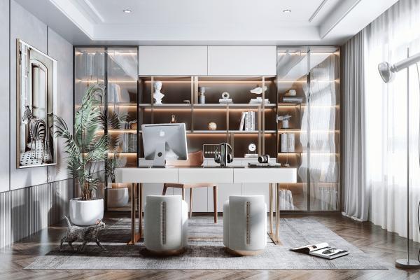 現代輕奢書房 書柜 書桌
