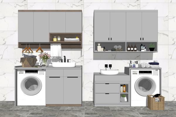 现代风格洗衣机 洗手台盆组合 阳台柜