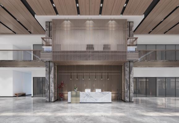 新中式办公楼 公司大堂 前台 接待大厅
