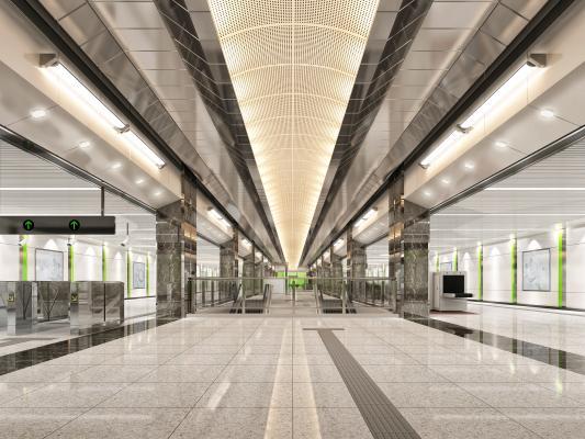 现代地铁站厅站台 车站大厅 闸机 安检机 电动扶梯