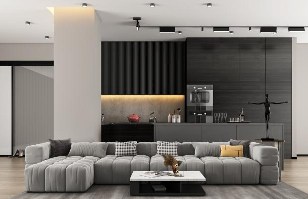 现代公寓中岛橱柜