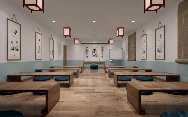 中式教室 课堂 学堂 书法教室 围棋教室 象棋教室 国学教室