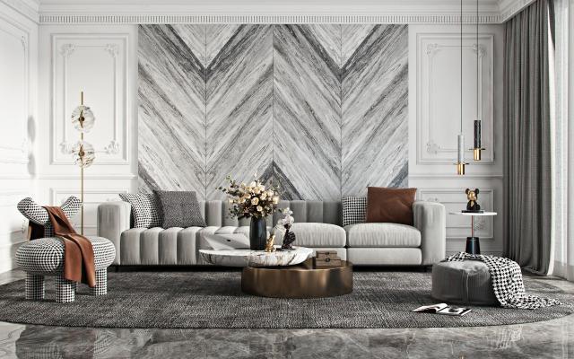现代沙发茶几组合 休闲椅 吊灯