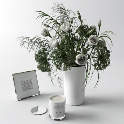北欧花瓶 花卉 蜡烛