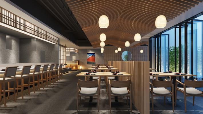 日式料理餐厅 吊灯 挂画
