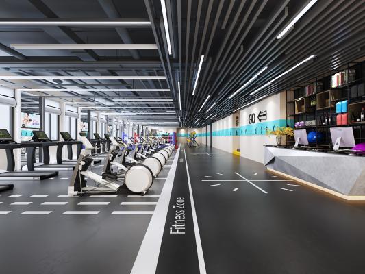 现代风格体育健身 健身房 健身器材