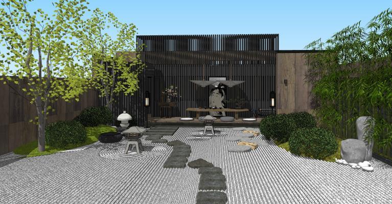 日式庭院景觀 枯山水 景觀小品