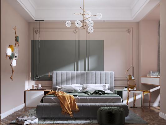 現代輕奢臥室 地毯 吊燈