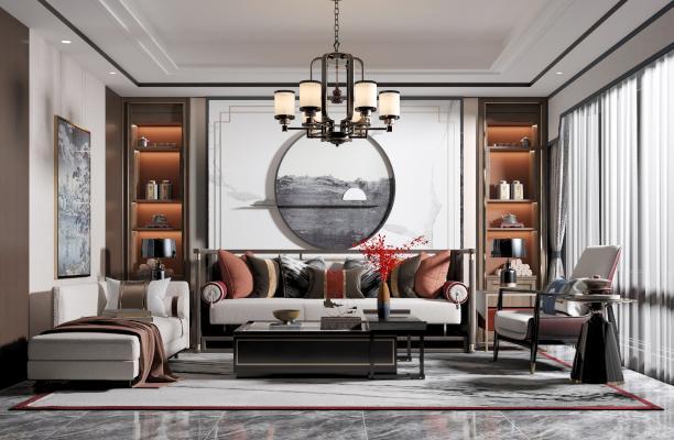 新中式客厅 沙发 茶几