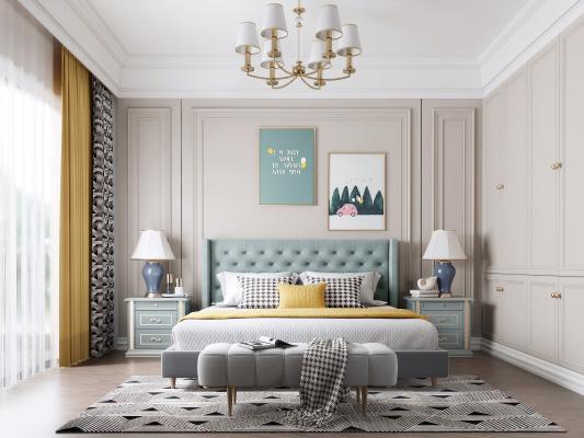 美式卧室主人房 双人床 床头柜 床尾凳 衣柜 窗帘 地毯