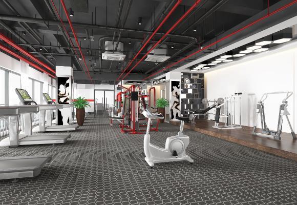 工业风格健身房 跑步机