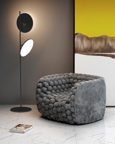 现代异形单人沙发落地灯组合