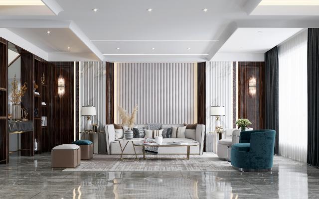 现代风格客厅 餐厅 玄关 沙发茶几组合 电视柜