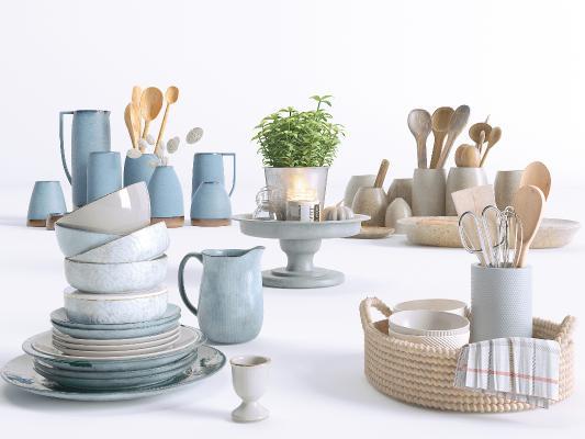 现代厨房用品组合 餐具 碗