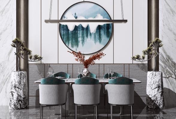 新中式餐桌椅组合 吊灯 绿植盆栽