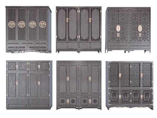 古典中式衣柜组合