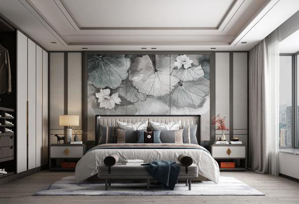 新中式臥室 裝飾畫