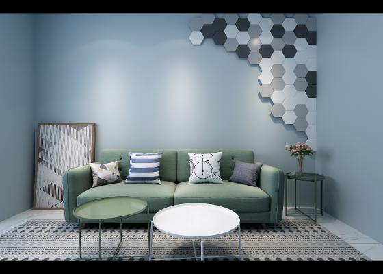 北欧沙发 茶几 墙饰