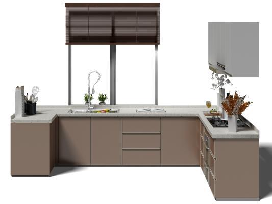 現代廚房廚具 櫥柜 窗戶
