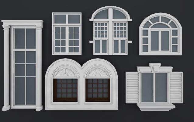 欧式古典窗户 窗台组合