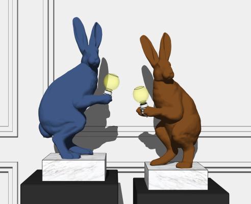 现代兔子台灯 雕塑