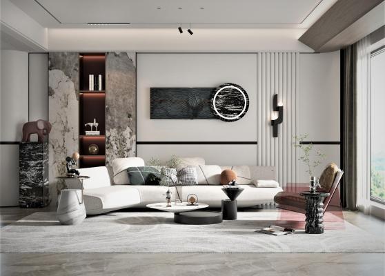 现代客厅 沙发茶几组