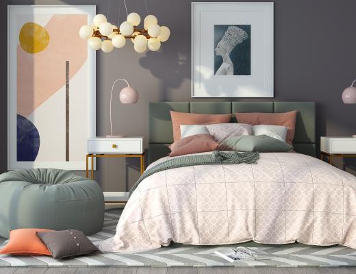 北欧双人床 床头柜 懒人沙发组合 抽象挂画 休闲单人沙发