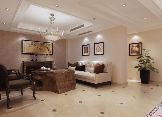 美式风格会客厅 娱乐室