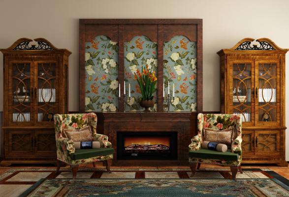 美式实木边柜 书柜 休闲椅组合