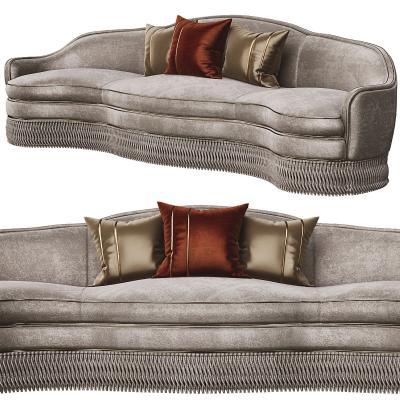 法式绒布多人沙发