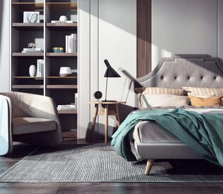 现代风格床 床头柜组合