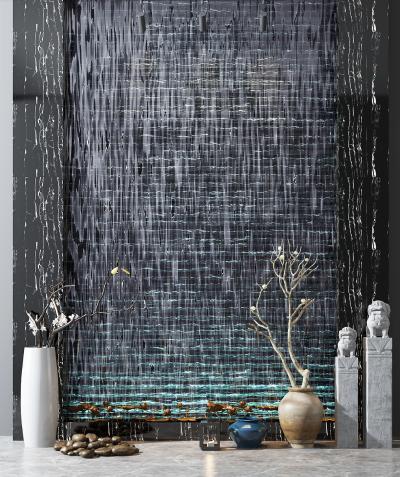 新中式水景流水背景墙装饰组合