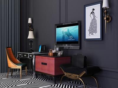 新古典电视柜 摆设