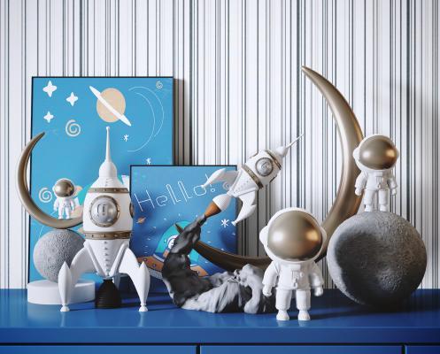 现代宇航员摆件 火箭太空主题儿童玩具 装饰摆件