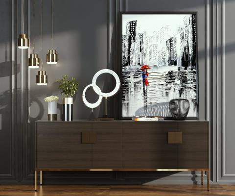 现代边柜 吊灯 壁画组合
